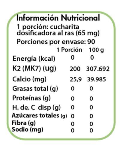 tabla nutricional vitamina k2